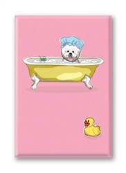 Bichon Frise, in Bathtub Fridge Magnet