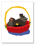 Chickens in basket Cards