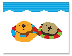 Two Sea Otters Card