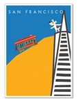 SF, Cable Car & TransAmerica Building: Blank Inside (1 card)