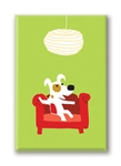 Rocket on Couch: Fridge Magnet (1 QT)