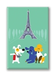 Paris, Rocket and Eiffle Tower: Fridge Magnet (1 QT)