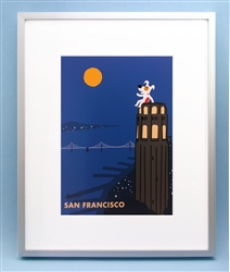 Rocket on Coit Tower, Coit Tower Art, Coit Tower Art Picture, San Francisco Art
