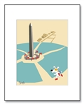 Washington Monument Art, Washington Monument Illustration, Washington Monument Illustrations, Dogs at the Washington Monument, Washington Monument Graphics, Decorative Washington Monument