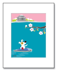 Jefferson Memorial Art, Jefferson Memorial Illustration, Jefferson Memorial Illustrations, Jefferson Memorial Cherry Blossoms, Tidal Basin Cherry Blossoms, Jefferson Memorial View with Cherry Blossoms,  Washington D.C. in Springtime, Colorful Jefferson