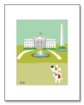 Cute White House Art, Illustration of White House, White House Lawn art, Dogs at the white house, Decorative white house, white house Matted Print, Jack Russell Art, Jack Russell Washington D.C., colorful white house drawing, cute white house drawing