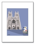 National Cathedral Art, National Cathedral Illustration, National Cathedral Illustrations, Dogs at National Cathedral, Children Washington D.C., Decorative National Cathedral, National Cathedral Matted Print, Jack Russell Art, Jack Russell Washington D.C.