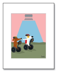 National Mall Art, National Mall Illustration, National Mall Illustrations, Dogs at National Mall, Children Washington D.C., National Mall Memorial, National Mall Matted Print, Jack Russell Art, Jack Russell Washington D.C.,