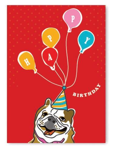 English Bulldog Birthday Card
