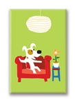 Couch W FlowerPot Fridge Magnet